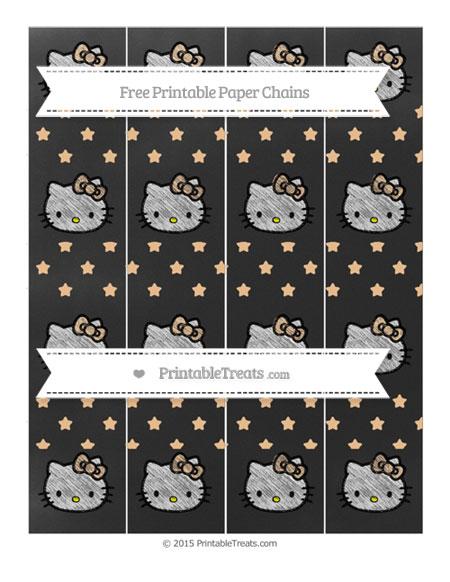 Free Pastel Light Orange Star Pattern Chalk Style Hello Kitty Paper Chains