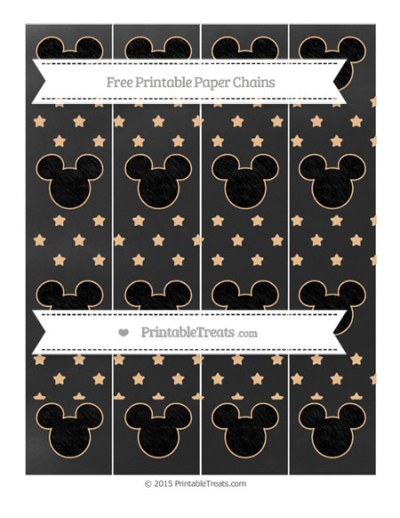 Free Pastel Light Orange Star Pattern Chalk Style Mickey Mouse Paper Chains