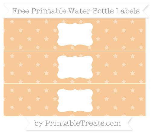 Free Pastel Light Orange Star Pattern Water Bottle Labels