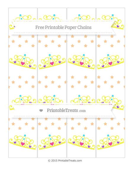 Free Pastel Light Orange Star Pattern Princess Tiara Paper Chains