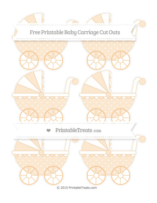 Free Pastel Light Orange Star Pattern Small Baby Carriage Cut Outs