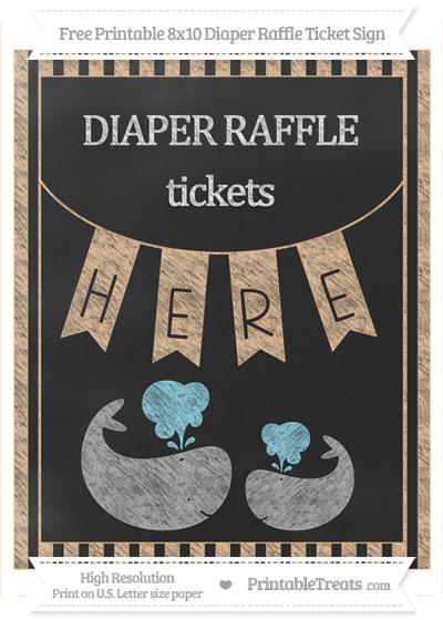 Free Pastel Light Orange Striped Chalk Style Baby Whale 8x10 Diaper Raffle Ticket Sign