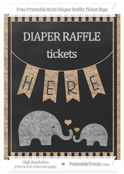 Free Pastel Light Orange Striped Chalk Style Elephant 8x10 Diaper Raffle Ticket Sign