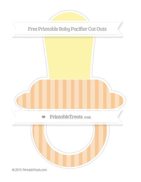 Free Pastel Light Orange Striped Extra Large Baby Pacifier Cut Outs