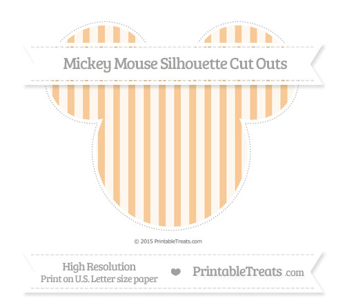 Free Pastel Light Orange Striped Extra Large Mickey Mouse Silhouette Cut Outs