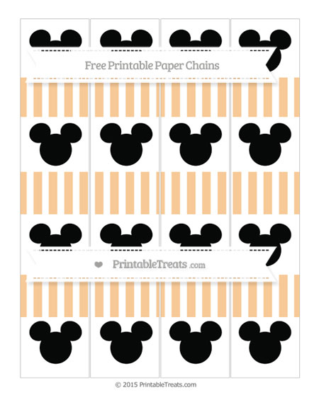 Free Pastel Light Orange Striped Mickey Mouse Paper Chains