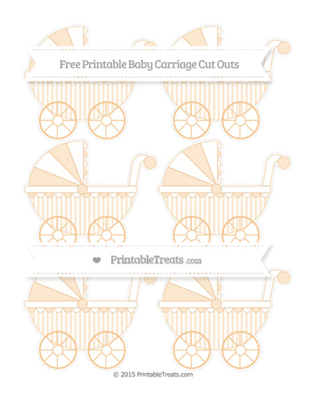 Free Pastel Light Orange Striped Small Baby Carriage Cut Outs