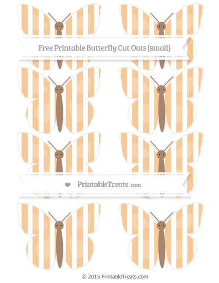 Free Pastel Light Orange Striped Small Butterfly Cut Outs