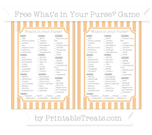 Free Pastel Light Orange Striped What's in Your Purse Baby Shower Game