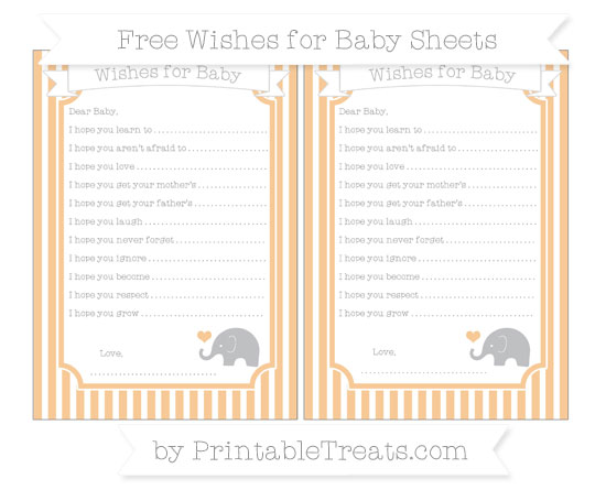 Free Pastel Light Orange Thin Striped Pattern Baby Elephant Wishes for Baby Sheets