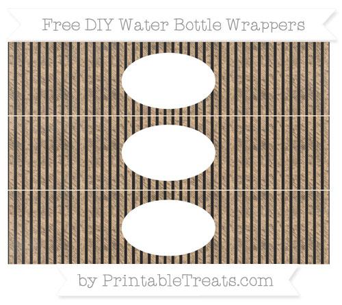 Free Pastel Light Orange Thin Striped Pattern Chalk Style DIY Water Bottle Wrappers