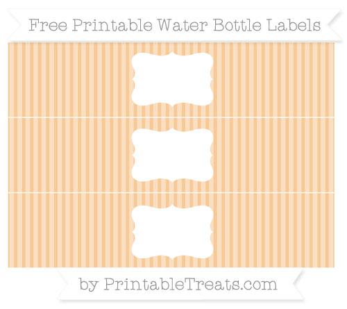 Free Pastel Light Orange Thin Striped Pattern Water Bottle Labels