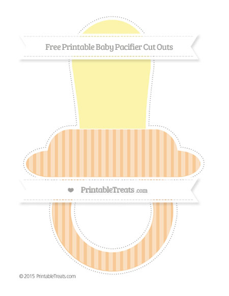 Free Pastel Light Orange Thin Striped Pattern Extra Large Baby Pacifier Cut Outs