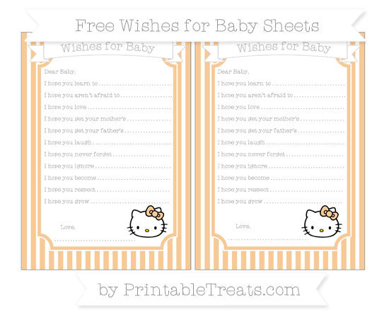 Free Pastel Light Orange Thin Striped Pattern Hello Kitty Wishes for Baby Sheets