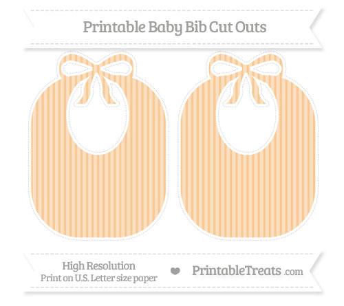 Free Pastel Light Orange Thin Striped Pattern Large Baby Bib Cut Outs