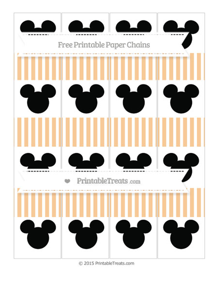 Free Pastel Light Orange Thin Striped Pattern Mickey Mouse Paper Chains