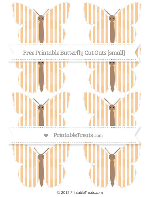 Free Pastel Light Orange Thin Striped Pattern Small Butterfly Cut Outs