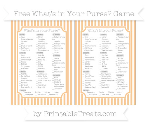 Free Pastel Light Orange Thin Striped Pattern What's in Your Purse Baby Shower Game
