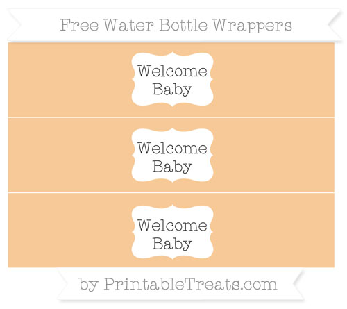 Free Pastel Light Orange Welcome Baby Water Bottle Wrappers