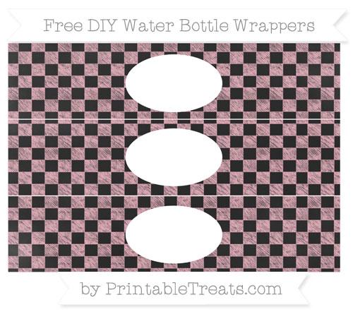 Free Pastel Light Pink Checker Pattern Chalk Style DIY Water Bottle Wrappers