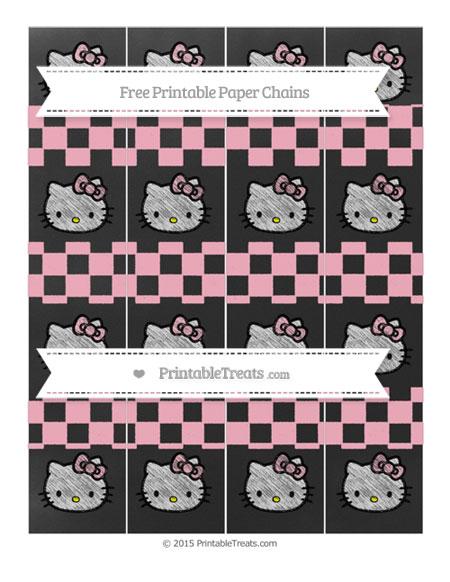 Free Pastel Light Pink Checker Pattern Chalk Style Hello Kitty Paper Chains