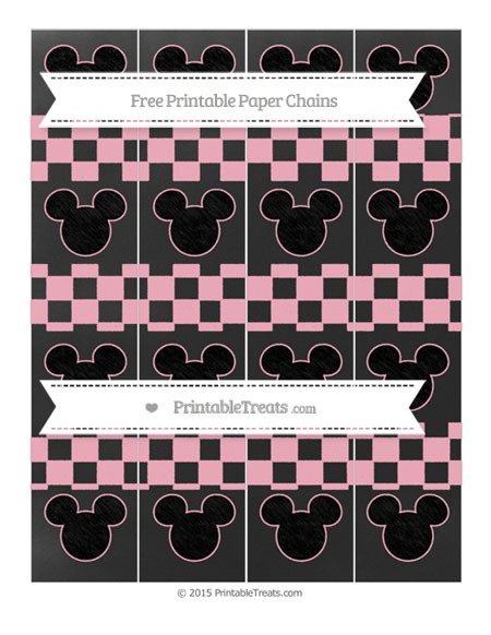 Free Pastel Light Pink Checker Pattern Chalk Style Mickey Mouse Paper Chains