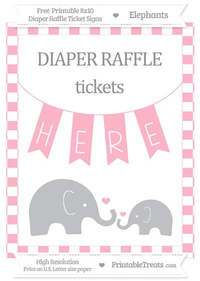 Free Pastel Light Pink Checker Pattern Elephant 8x10 Diaper Raffle Ticket Sign