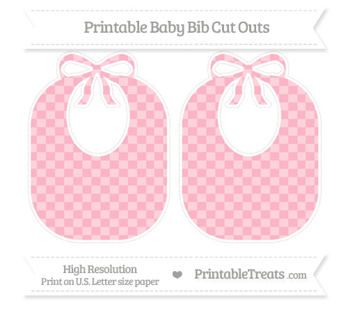 Free Pastel Light Pink Checker Pattern Large Baby Bib Cut Outs