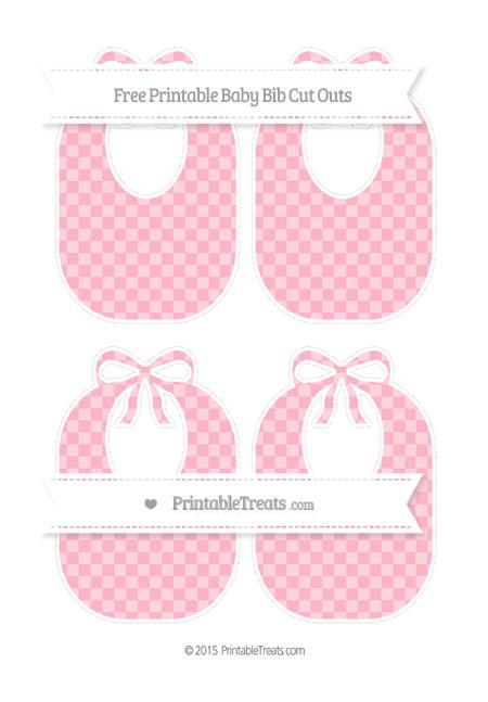Free Pastel Light Pink Checker Pattern Medium Baby Bib Cut Outs