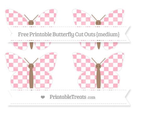 Free Pastel Light Pink Checker Pattern Medium Butterfly Cut Outs