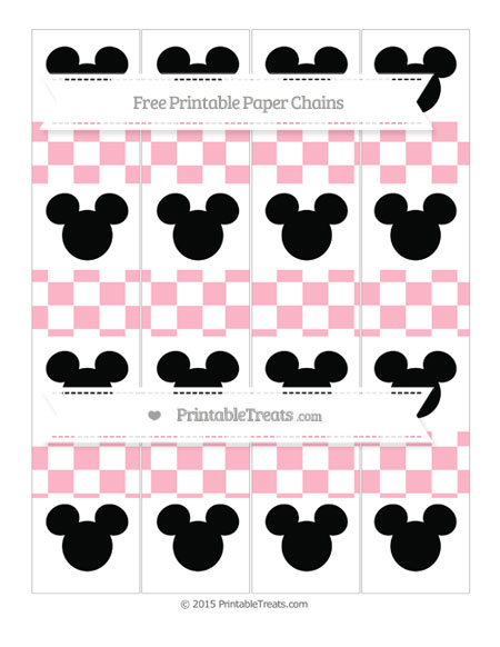 Free Pastel Light Pink Checker Pattern Mickey Mouse Paper Chains
