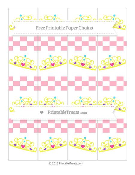 Free Pastel Light Pink Checker Pattern Princess Tiara Paper Chains