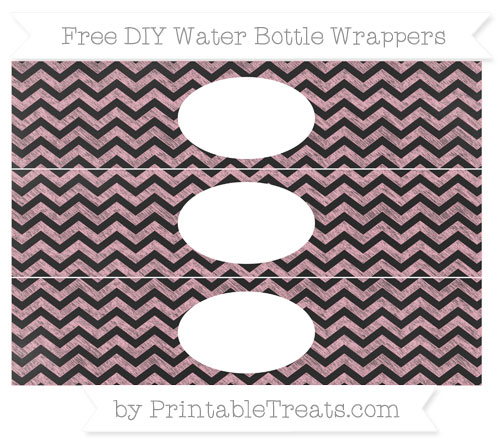 Free Pastel Light Pink Chevron Chalk Style DIY Water Bottle Wrappers