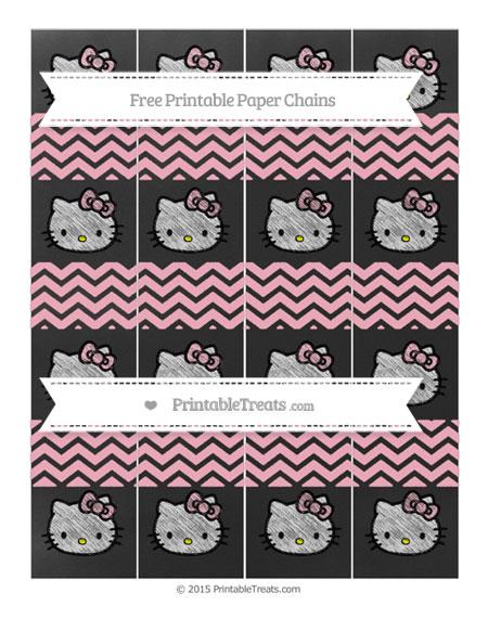 Free Pastel Light Pink Chevron Chalk Style Hello Kitty Paper Chains