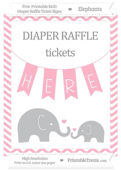 Free Pastel Light Pink Chevron Elephant 8x10 Diaper Raffle Ticket Sign