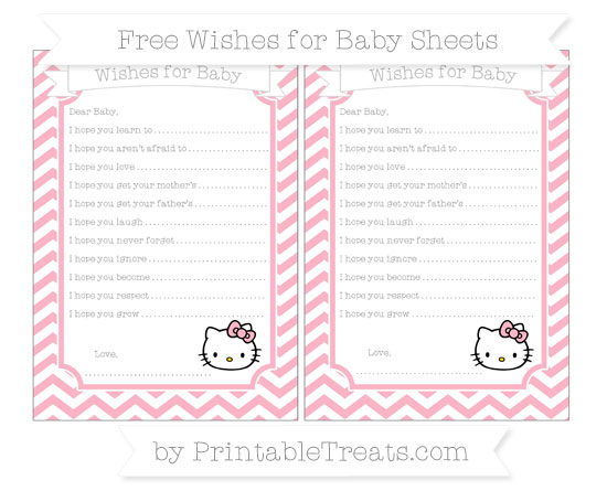 Free Pastel Light Pink Chevron Hello Kitty Wishes for Baby Sheets