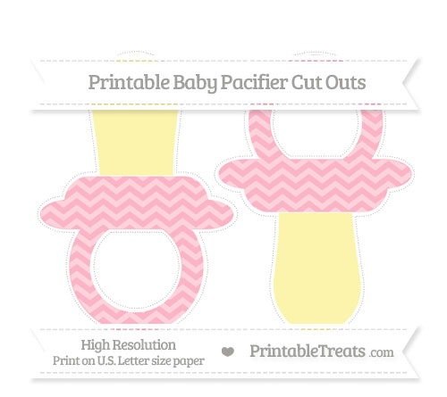 Free Pastel Light Pink Chevron Large Baby Pacifier Cut Outs