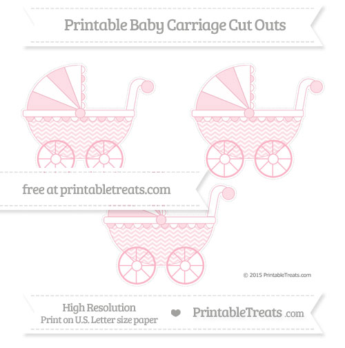 Free Pastel Light Pink Chevron Medium Baby Carriage Cut Outs