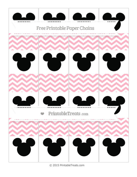 Free Pastel Light Pink Chevron Mickey Mouse Paper Chains