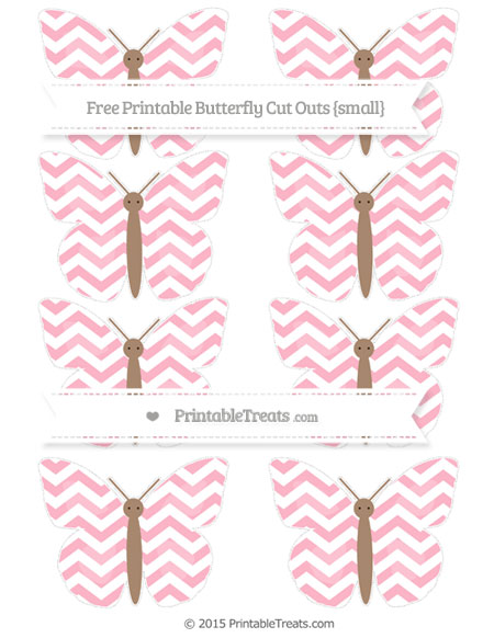 Free Pastel Light Pink Chevron Small Butterfly Cut Outs