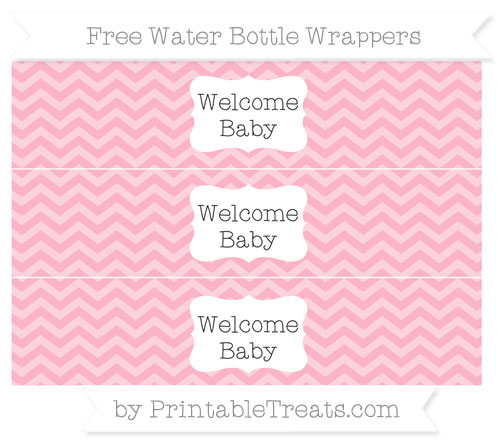 Free Pastel Light Pink Chevron Welcome Baby Water Bottle Wrappers