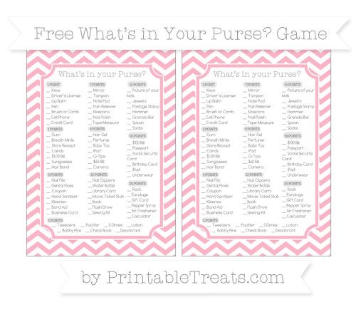 Free Pastel Light Pink Chevron What's in Your Purse Baby Shower Game