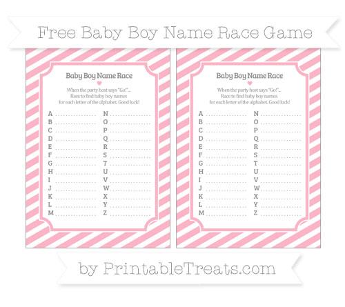 Free Pastel Light Pink Diagonal Striped Baby Boy Name Race Game