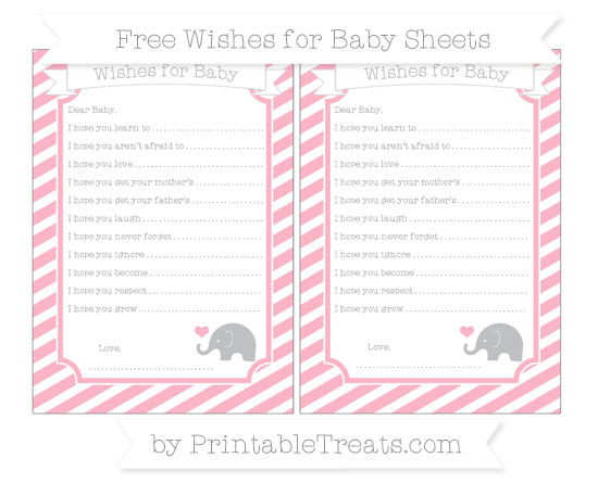 Free Pastel Light Pink Diagonal Striped Baby Elephant Wishes for Baby Sheets