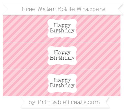 Free Pastel Light Pink Diagonal Striped Happy Birhtday Water Bottle Wrappers
