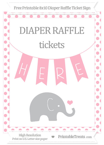 Free Pastel Light Pink Dotted Baby Elephant 8x10 Diaper Raffle Ticket Sign