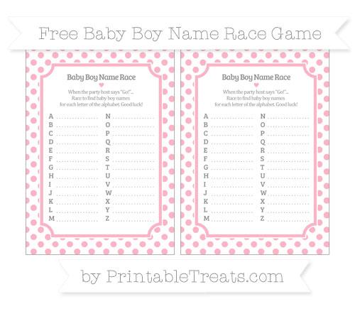 Free Pastel Light Pink Dotted Pattern Baby Boy Name Race Game