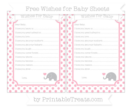 Free Pastel Light Pink Dotted Pattern Baby Elephant Wishes for Baby Sheets
