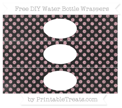 Free Pastel Light Pink Dotted Pattern Chalk Style DIY Water Bottle Wrappers