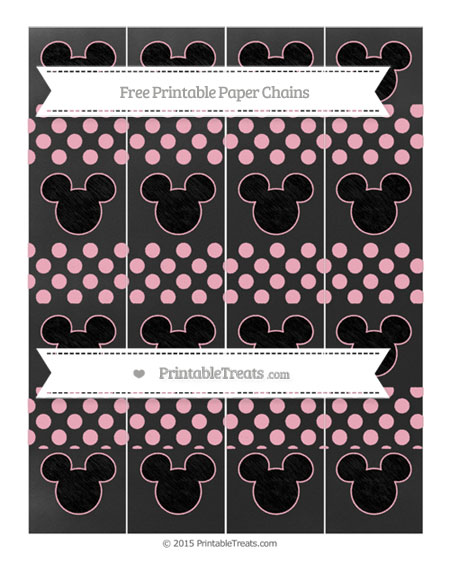 Free Pastel Light Pink Dotted Pattern Chalk Style Mickey Mouse Paper Chains